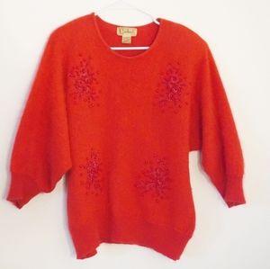 CARDUCCI Vtg Red Angora Dolman ShoulderPad Sweater